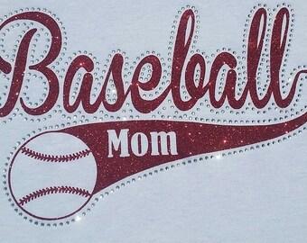 Baseball Mom Glitter Vinyl and Rhinestone Shirt