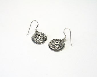 OM earrings Sterling Silver 925 Aum ohm