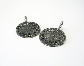 Beautiful large washers Silver 925 earrings