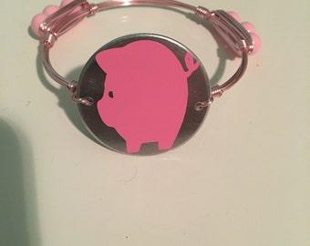 Pink pig bangle