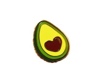 Avocado Love Lapel Pin - Cute yellow gold plated heart - Kawaii Hard Enamel Pins