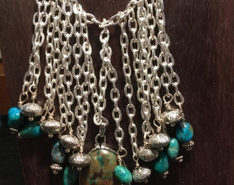 Chrysocolla and Chains Necklace with Pendant