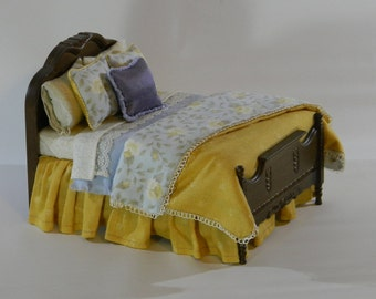 Collectable Handcrafted Dressed Bed by MacaroniPie in 1:12 Scale. FREE Shipping