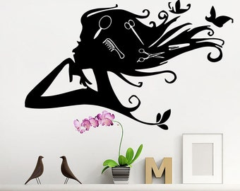Beauty Salon Decals Scissor Combs Wall Decals Girls Hairdressing Stickers Salon Shop Window Decor T259