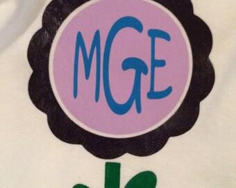 monogrammed flower onsie
