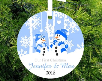 Our First Christmas Ornament Personalized Ornament Mr & Mrs Christmas Gift Wedding Gift Snowman Couple - Item# ORS223 - lovebirdschristmas