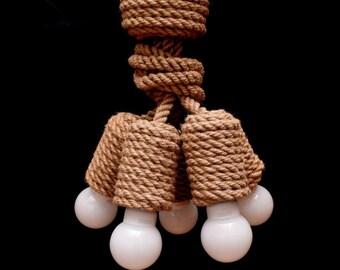 """Jute Chandelier, 40cm (~16""""), for 5 light bulbs, pendant light made from jute rope, nautical, hanging light, loft lighting, marine style"""