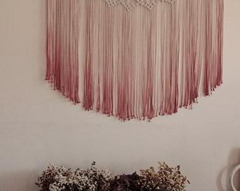 Macrame curtain ombre, ombre window curtain, dip dye curtain, pink, maroon, macrame wall hanging, large macrame, modern macrame