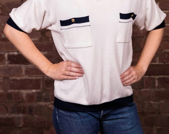 Vintage '80's '90's Sailor Nautical Style Top Knitwear Blue and white