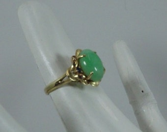Estate 14k Gold / Jade Ring Size 6.75