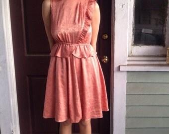 vintage 1950s pink silk dress layers collar