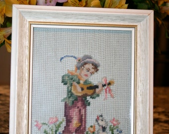 Hummel Needlepoint Picture//1965 Hummel Picture//Home Decor Picture//Vintage Hummel Picture