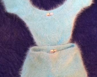 Turquoise Blue Angora Hotpants Twinset!