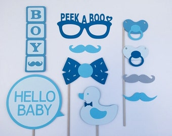 Boy Baby Shower Photo Booth Props / Photobooth Props / Boy Baby Shower Photo Props / Baby Boy / Party Goods / FULLY ASSEMBLED / 10 Pc