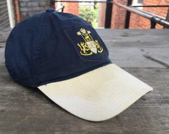 90s J Crew Dad Hat - Blue and White