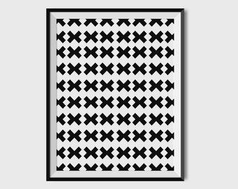 Geometric print, Minimal wall decor, Scandinavian Art, Pattern paper, Office decor, 8x10 print,Black and white wall art, x, Gift for men