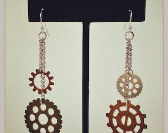 Dual Chain Gear Earrings