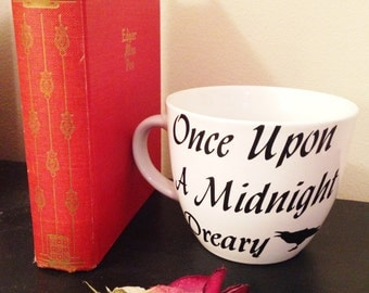 "The Raven Coffee Cup // Edgar Allan Poe // ""Once Upon A Midnight Dreary"" // Literature Coffee Cup"