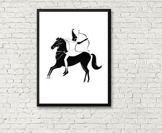 Wall Art Black Horse : Warrior on a black horse ink wall art printable by