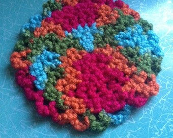 Multicolored Crochet Coaster Set