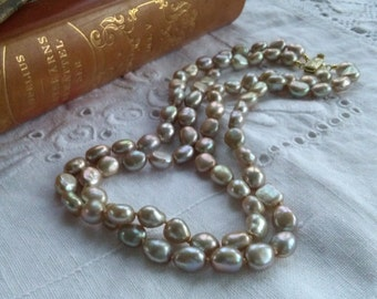 Double row freshwater pearl necklace collier
