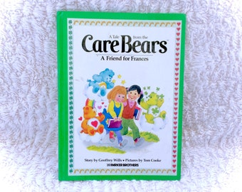 Vintage Care Bears 1983 Green Hardcover Book A Friend For Francis 80's Retro 1980s Parker Brothers Story Children's TV Show Tale CareBears