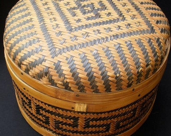Antique Early Chinese Bamboo Woven Basket-People's Republic of China-1900's-WAS 225.00 NOW 185.00
