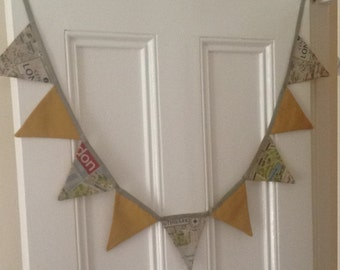 Large London Map print Fabric Bunting- Mustard.