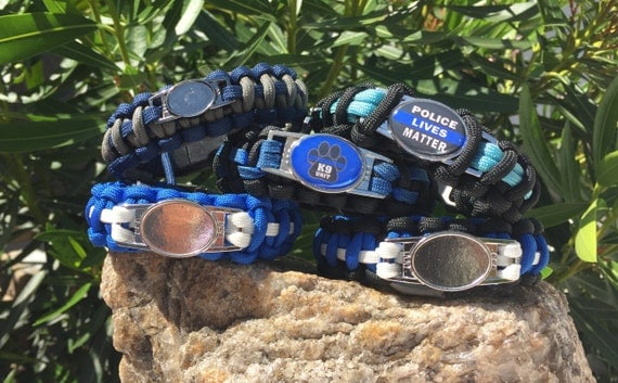 Law Enforcement Paracord Bracelet, 2 different charm choices to make charm choice, stainless steel buckle