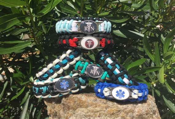 RN and EMS Paracord Bracelet, medical themed, using a shoelace charm, emblem