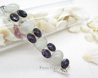 Rainbow Moonstone and Smoky Topaz Sterling Silver Bracelet
