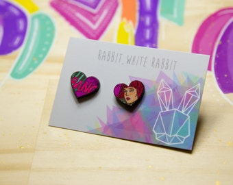 Hand Coloured Heart Comic Studs