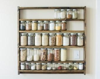 Mason Jar Pantry Shelf Organizer, Kitchen Storage Shelves for Whole Food Ingredients