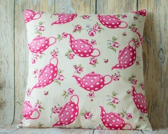 "Vintage Pink/Vanilla teapots ~ 14"" pillow/cushion cover shabby chic country vintage style (b)"