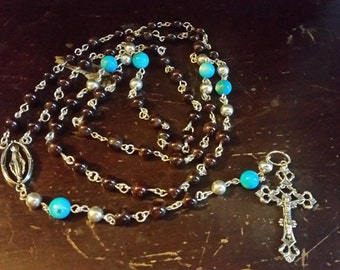 Chinese Garnet and Abalone Rosary