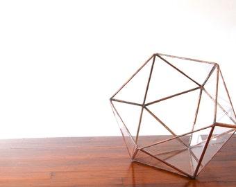 Medium Glass Terrarium - Simple Icosahedron / Geometric Terrarium / Display Box / Candle Holder by Geodesium