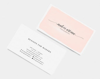 Pink Watercolor Business Card - Premade Business Cards - Modern Calligraphy Logo Long Cursive Swashes - Minimal Design - Elegant Typography