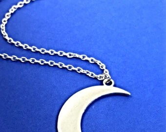 Crescent moon charm necklace, moon Necklace, moon pendant, large silver crescent moon, jewelry, celestial, moon, crescent, moon jewelry gift