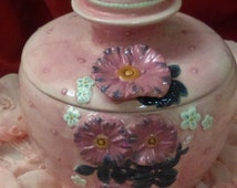 """Porcelain vintage Jar//Hand made//pink jar with white and purple flowers//Spring is here/ 6""""  Height/Gift for her/Gift for mother/"""