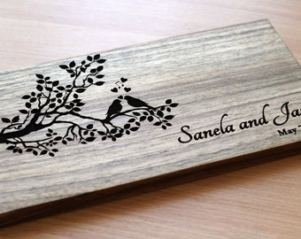 Cutting Board wedding gift Сouple cutting board Christmas Gift Bridal Shower Gift Anniversary Gift Сutting board engraved Tree birds