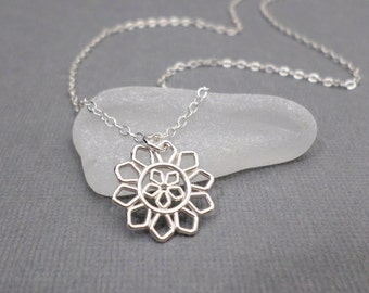 ON SALE + Free Shipping. Silver Filigree Necklace. Silver Flower. Silver Filigree Pendant. Dainty Sterling. Everyday. Modern Geometric