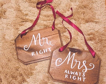 "Customizable ""Mr"" and ""Mrs"" Rustic Wedding Chair Wooden Sign-Burgundy / Maroon"