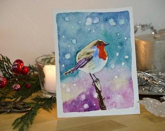 Handmade greetings cards Robin