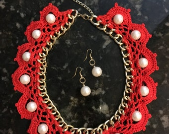 Set of handmade crochet red necklace with pearls and earrings
