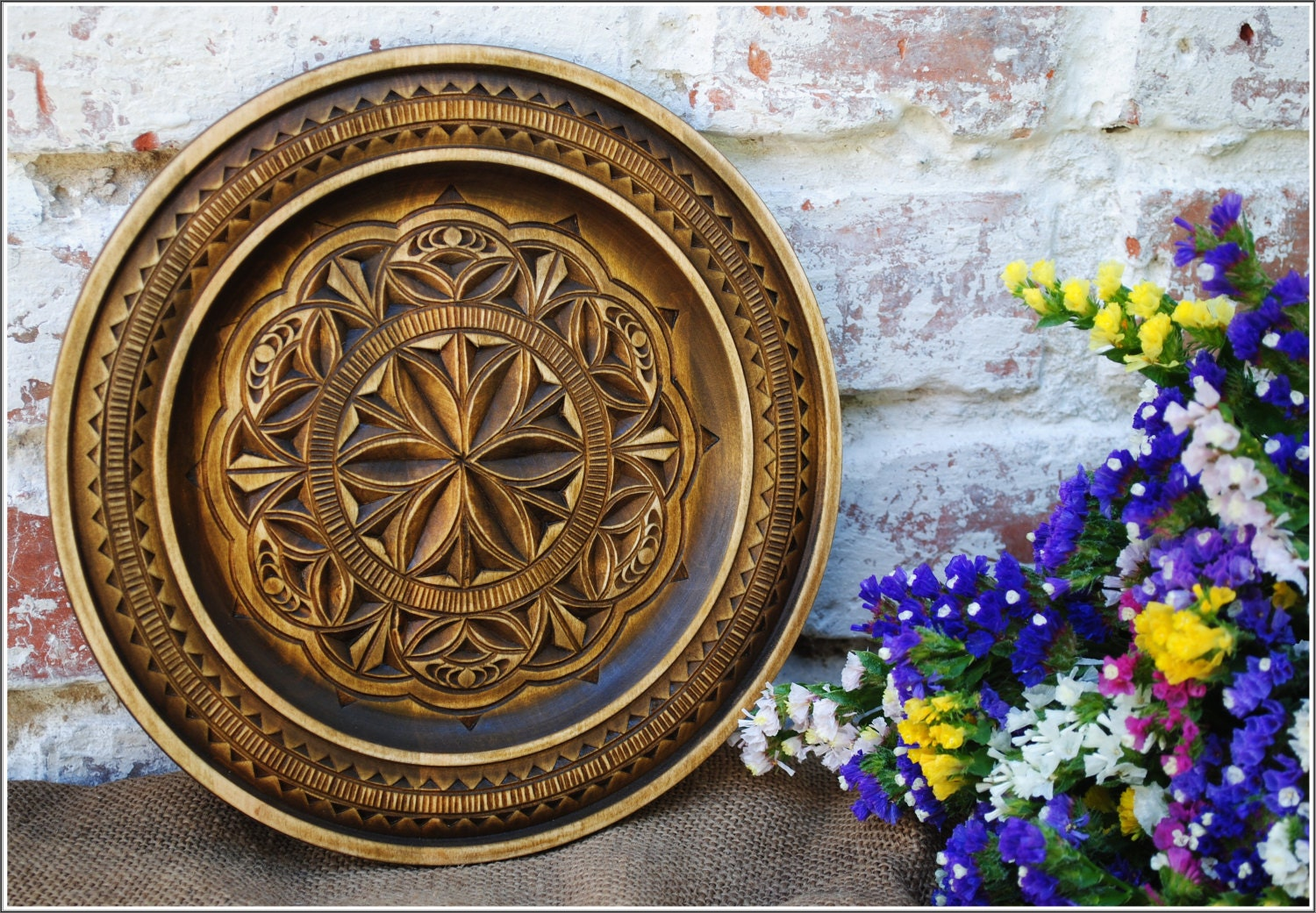 Decorative Wall Plates For Hanging: Wooden Wall Decor Rustic Wooden Plates Wooden Decorative