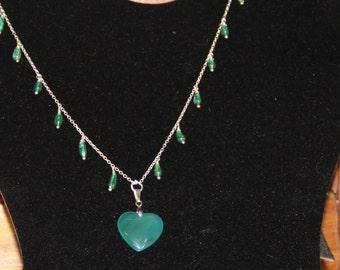 Green adventurine necklace ssterling silver.