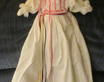 Doll-----Cotton Cloth---- with Bonnet and Long Dress Embroidered.   (Pillowcase  Doll)