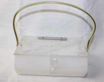 Vintage 1950s white lucite leaf etching box purse 246