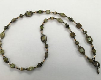 28 inch Antique Bronze and OliveToned Necklace