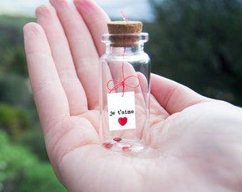 Je t'aime. I love you. Tiny message in a bottle. Miniatures. Personalised Gift. Funny Love Card. Valentine Card. Special greeting card.